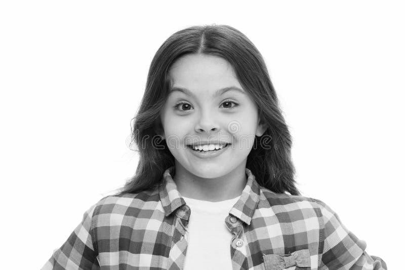 Criança emocional sincera Cara emocional do riso da menina Humor e reaja a estória boa Conceito da infância e da felicidade miúdo fotografia de stock