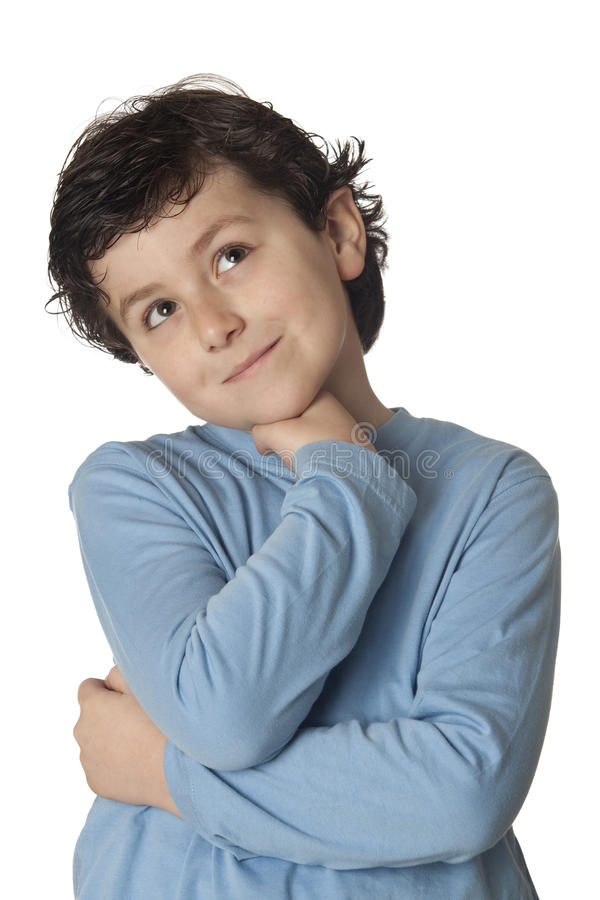 Criança engraçada com pensamento azul da camisa fotos de stock