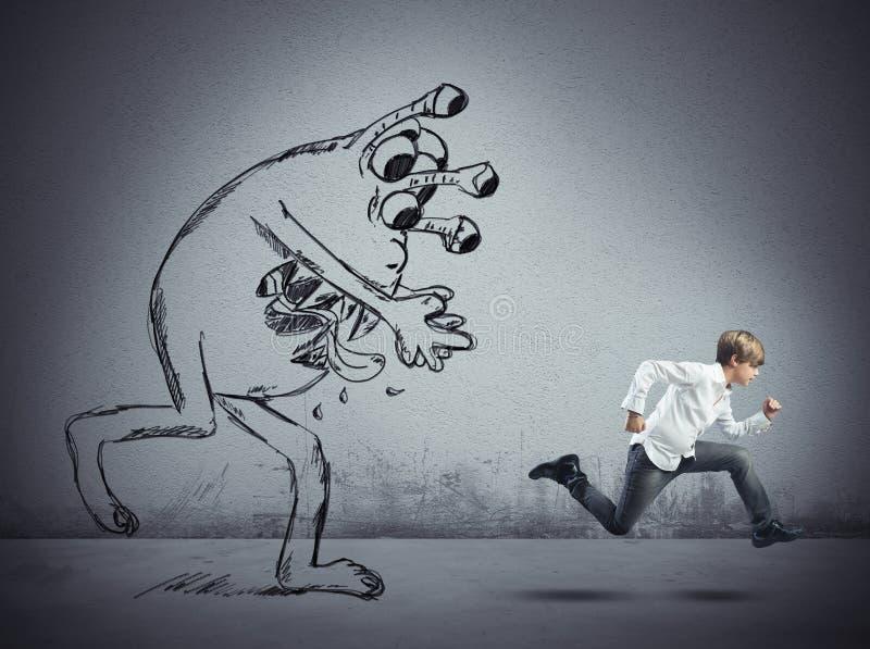 A criança escapa do vírus ilustração stock