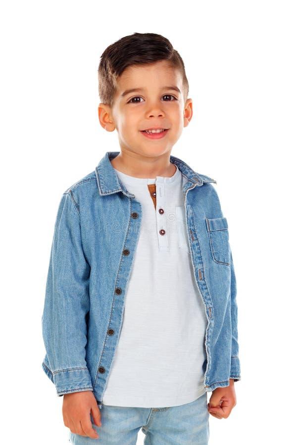 Criança escura feliz com camisa da sarja de Nimes imagens de stock royalty free