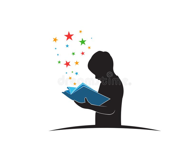 criança esperta que aprende pelo livro de leitura quando projeto ereto da ilustração do logotipo do vetor ilustração stock