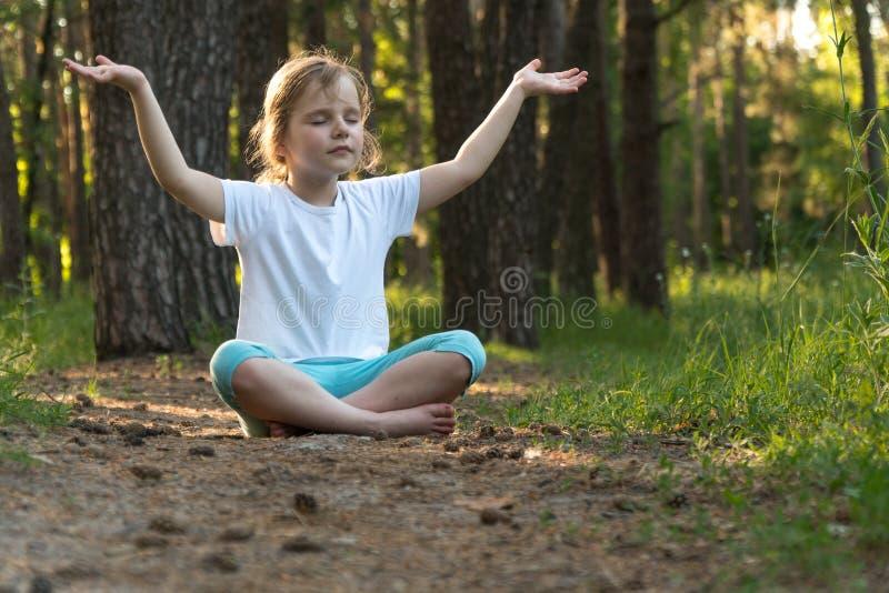 A criança está praticando a ioga na floresta imagens de stock