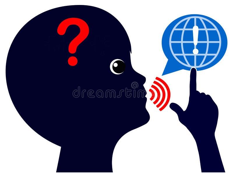 A criança faz perguntas no Internet ilustração do vetor