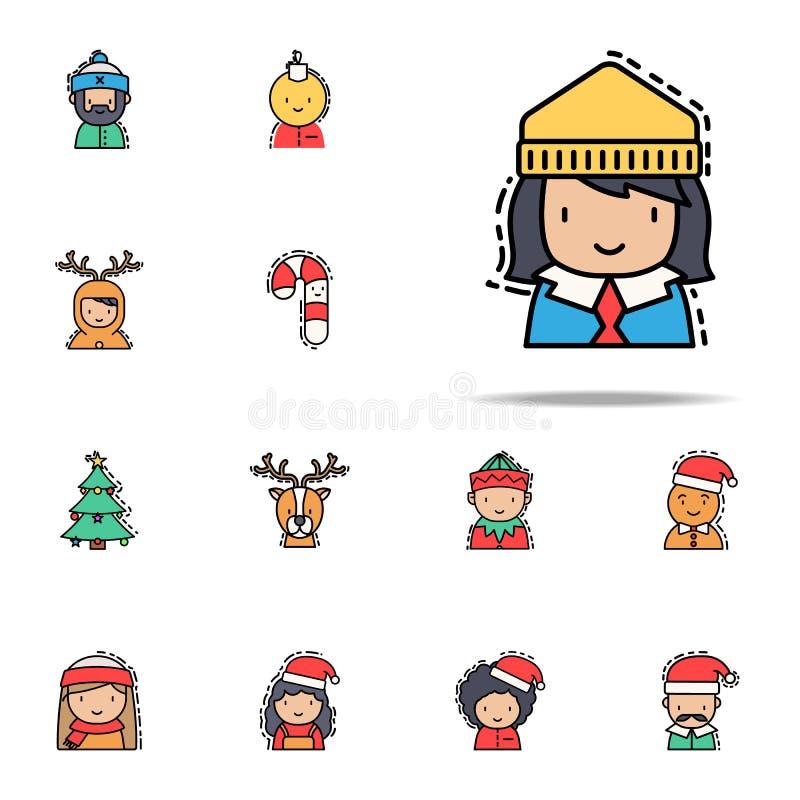 criança feliz ícone colorido Grupo universal dos ícones dos avatars do Natal para a Web e o móbil ilustração do vetor