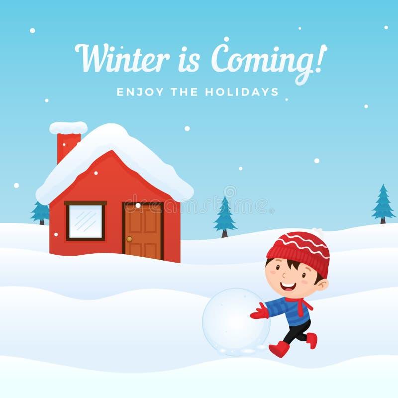 A criança feliz aprecia jogar a bola de neve que faz o boneco de neve na parte dianteira da casa nevado na ilustração do fundo do ilustração stock