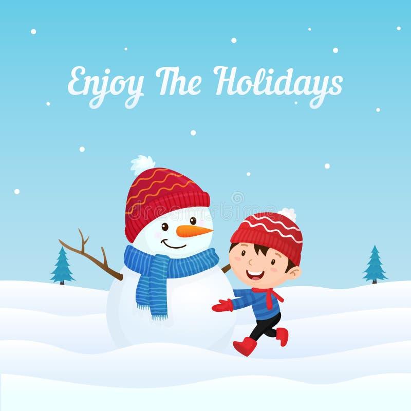 A criança feliz do menino aprecia fazer o boneco de neve bonito vestido grande na ilustração do vetor do fundo da estação do inve ilustração stock