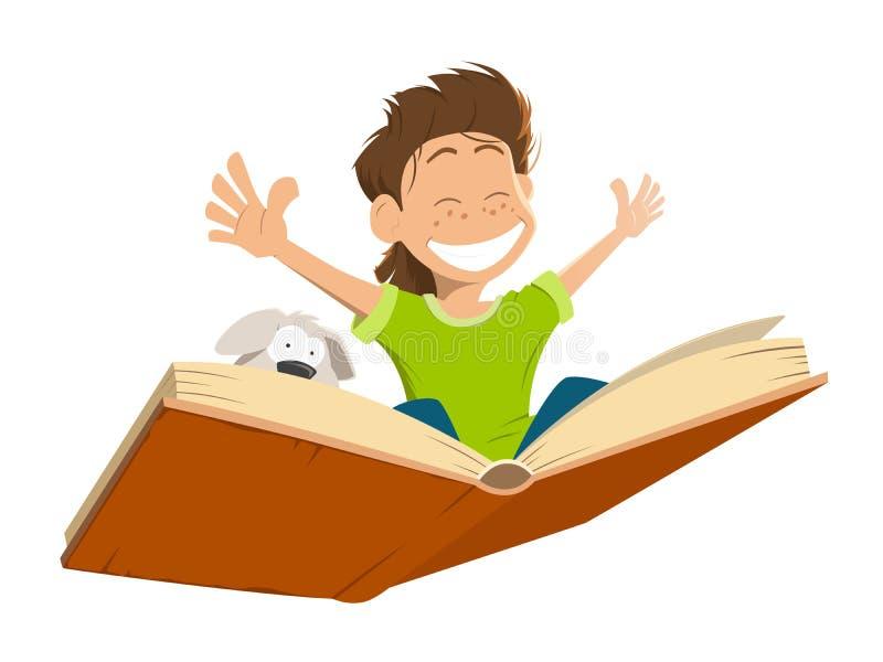 Criança feliz do menino da criança do sorriso que voa o cachorrinho bonito do livro grande ilustração royalty free