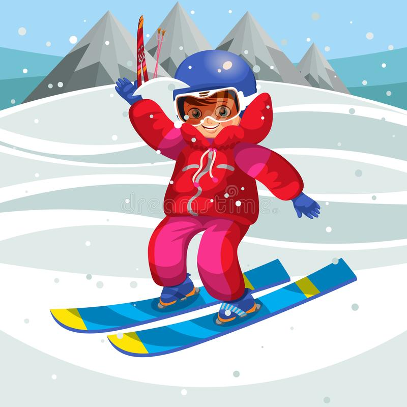 Criança feliz dos desenhos animados que aprende como esquiar no feriado ilustração royalty free