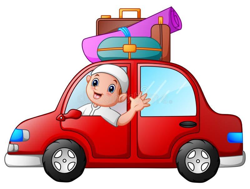 Criança feliz dos muçulmanos no carro vermelho ilustração royalty free
