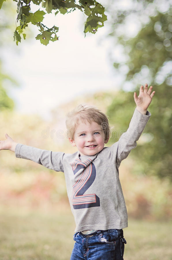 Criança feliz que comemora o segundo aniversário imagem de stock royalty free