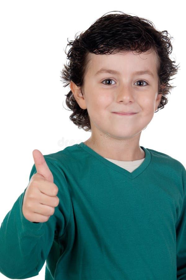 Criança feliz que diz está bem fotos de stock