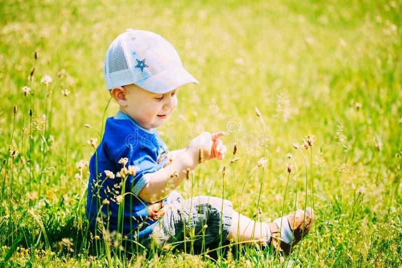 Criança feliz Sit In Summer Green Grass de Little Boy fotos de stock