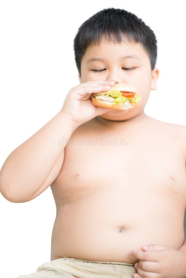 A criança gorda obeso do menino come o Hamburger da galinha isolado fotografia de stock royalty free