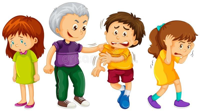 Criança grande crianças mais novas ameaçadas ilustração stock