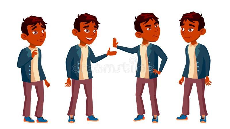 A criança indiana da estudante do menino levanta vetor ajustado Aluno alto teenage Livro, espaço de trabalho, placa Para a Web, f ilustração stock