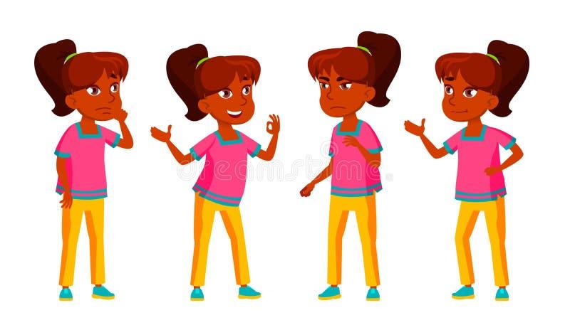 A criança indiana da menina levanta vetor ajustado Aluno alto teenage Para a propaganda, cumprimento, projeto do anúncio Isolado ilustração stock