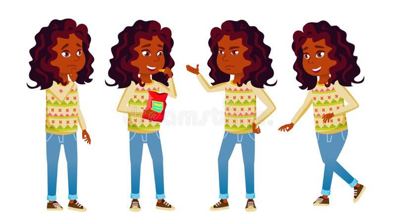 A criança indiana da menina levanta vetor ajustado E hindu teen Para a Web, folheto, projeto do cartaz Isolado ilustração do vetor