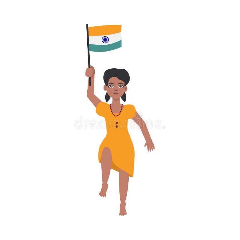 Criança indiana lisa da menina que salta guardando a bandeira nacional ilustração royalty free
