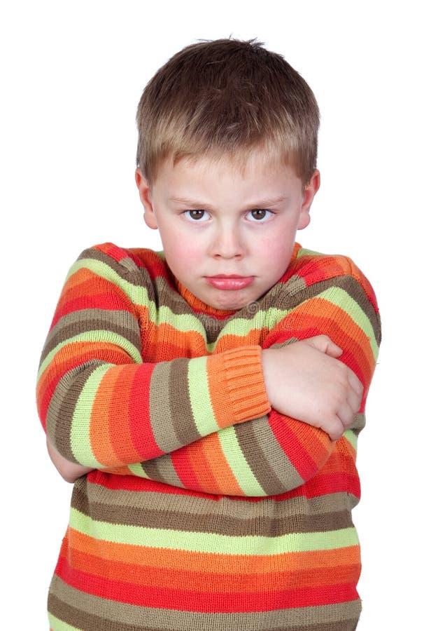 Criança irritada com braço cruzado imagem de stock royalty free