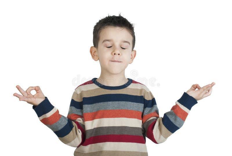 A criança meditate fotos de stock royalty free