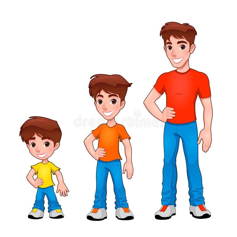 Criança, menino e homem, descrição da idade. ilustração royalty free