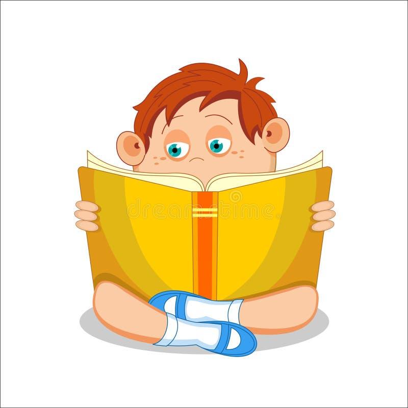 Criança, menino, lendo o livro aberto, ilustração do vetor ilustração stock