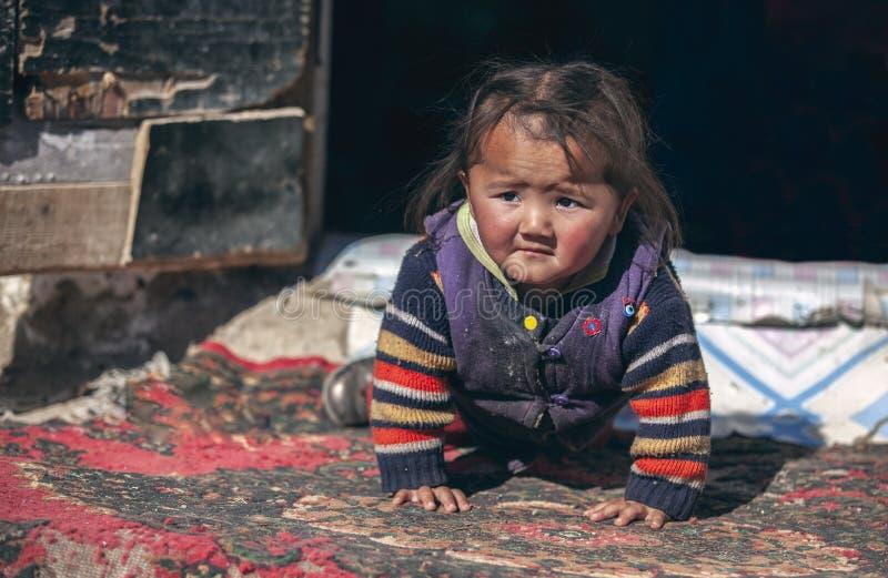 Criança Mongolian da família do nômadas que joga a parte externa fotografia de stock royalty free