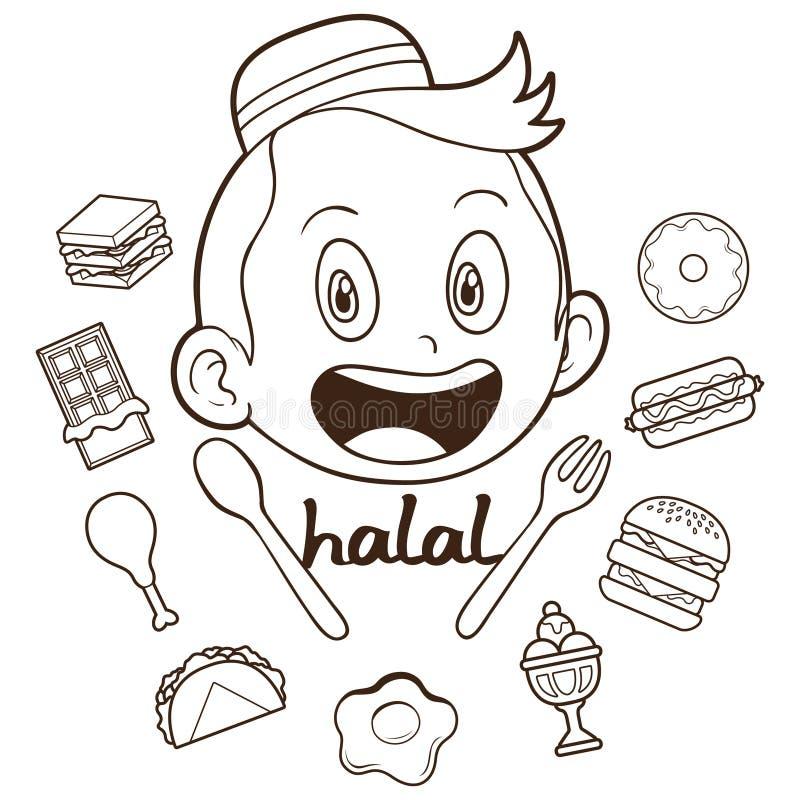 Criança muçulmana com ilustração do esboço do alimento ilustração stock