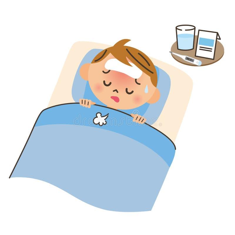 Criança na cama para uma doença ilustração stock