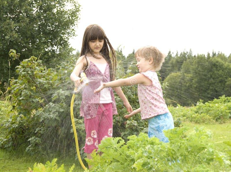 Criança na horta foto de stock