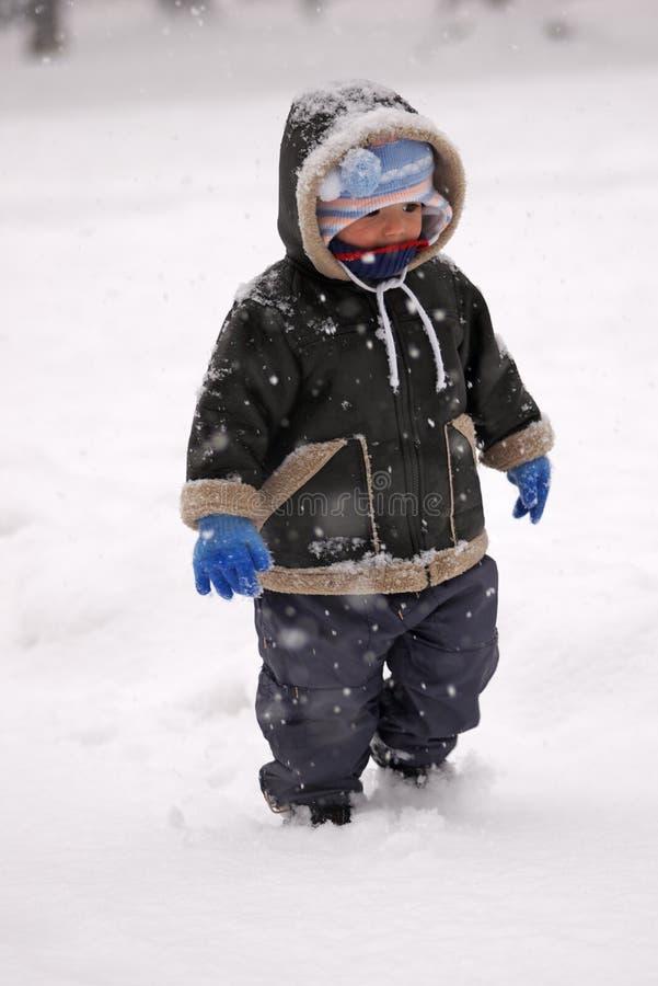Criança na neve fotografia de stock royalty free