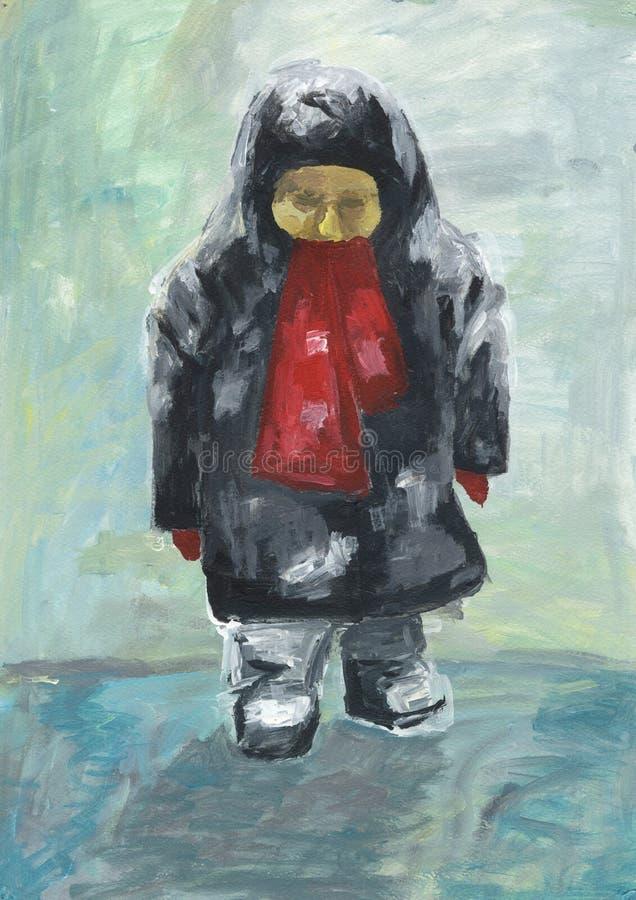Criança na roupa do inverno e nas botas de feltro no gelo Retrato abstrato ilustração royalty free
