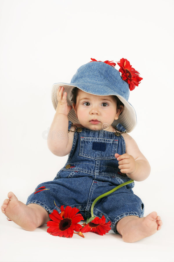 Criança na sarja de Nimes fotos de stock royalty free