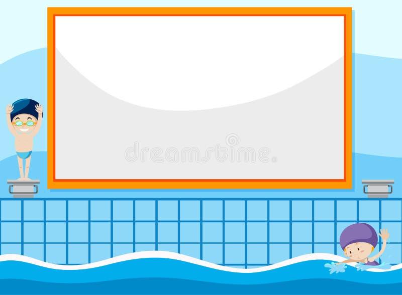 Criança nadadora no molde da bandeira ilustração royalty free