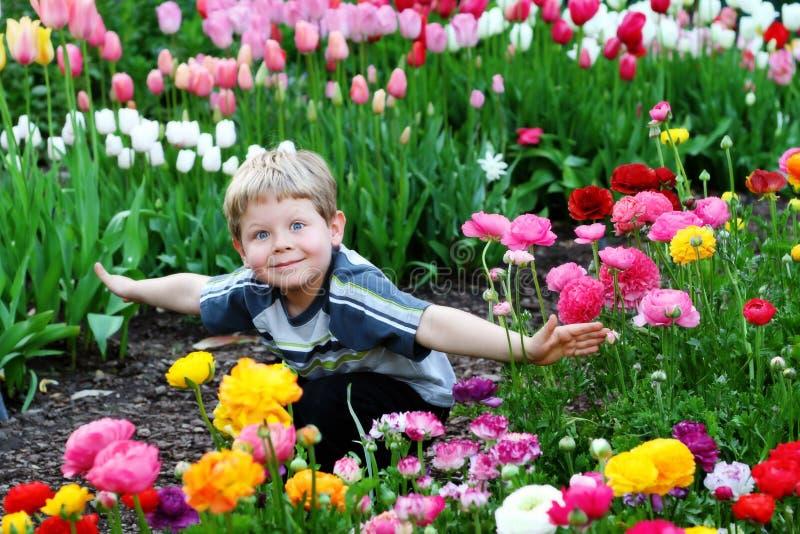 Criança nas flores foto de stock royalty free