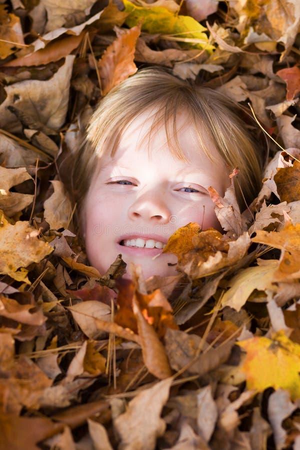 Criança nas folhas de outono. imagens de stock royalty free