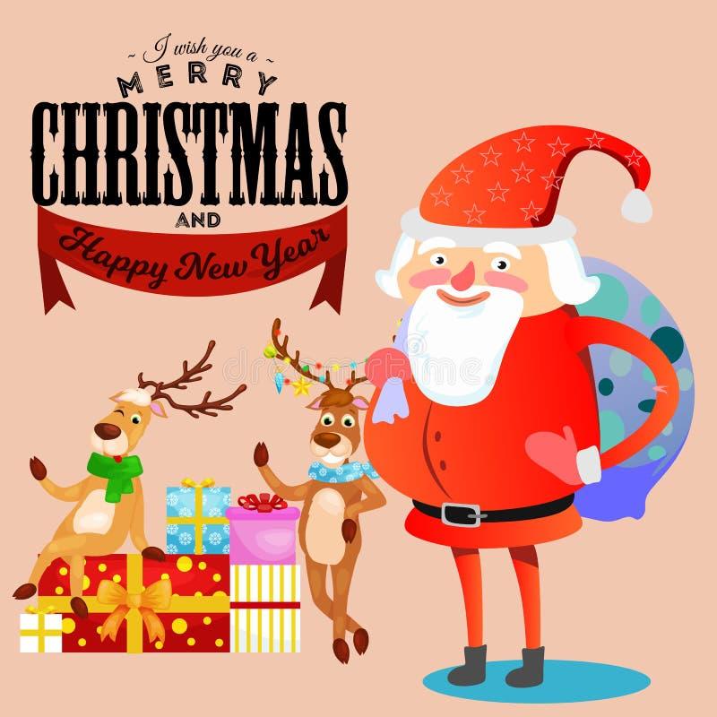 A criança nas mãos de Santa Claus faz o desejo, o homem no terno vermelho e a barba com o saco dos presentes atrás dele escaladas ilustração stock