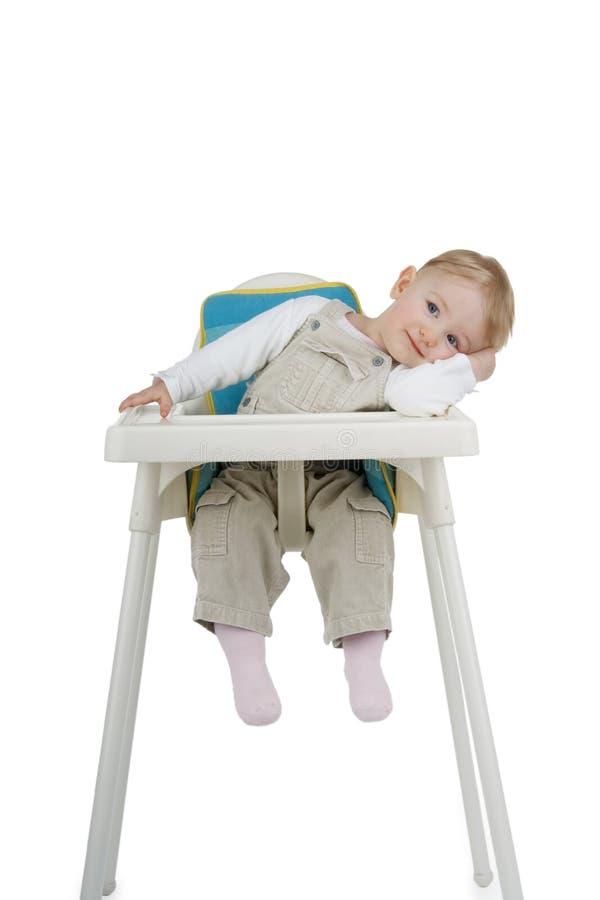 Criança no tamborete da criança. imagem de stock royalty free