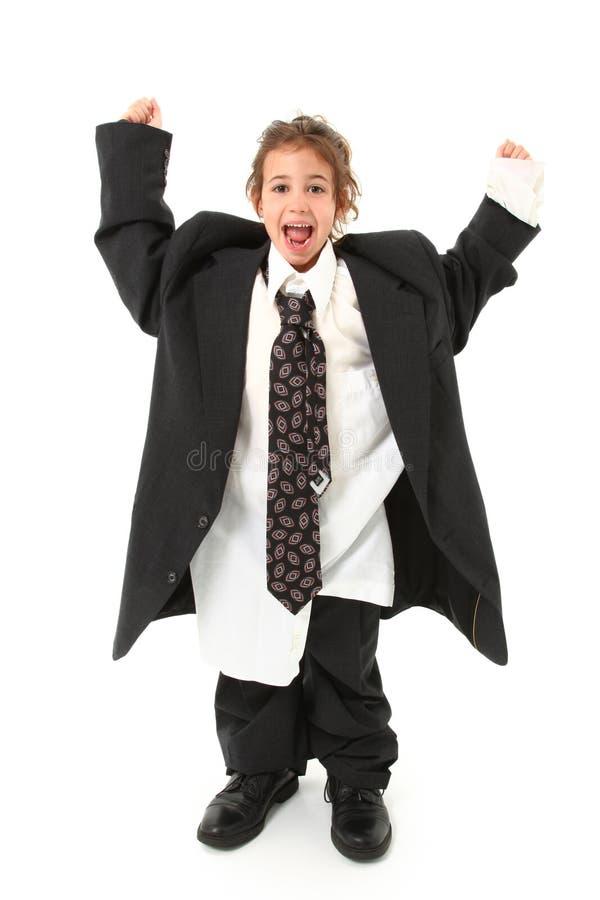 Criança no terno desproporcionado fotos de stock royalty free