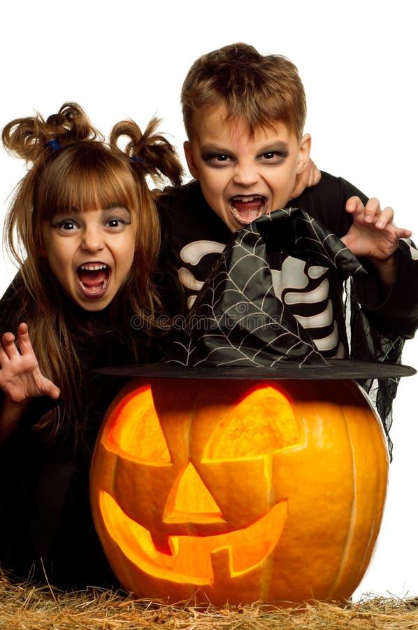 Criança no traje de Halloween fotos de stock