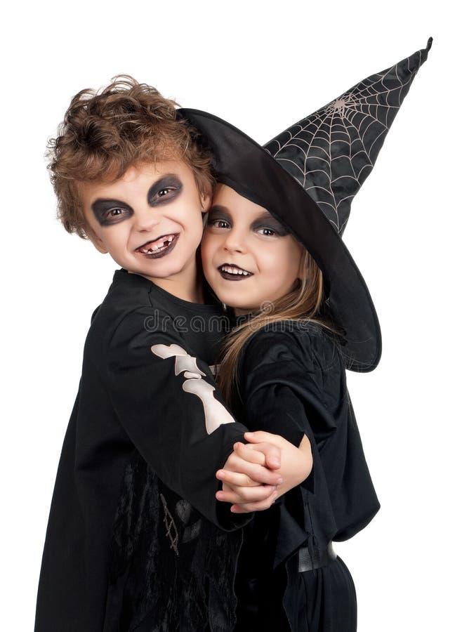 Criança no traje de Halloween imagens de stock