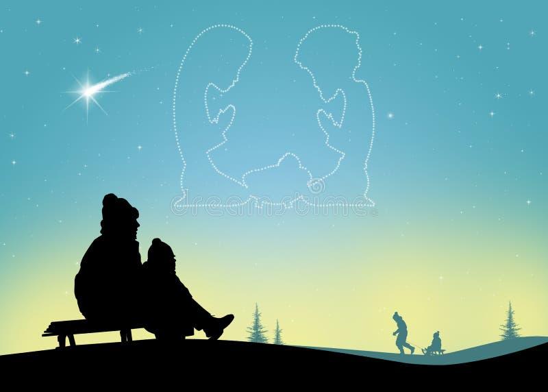 A criança no trenó olha a cena da natividade no céu ilustração stock