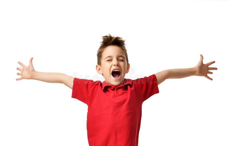 Criança nova do menino no t-shirt vermelho do polo que comemora o riso de sorriso feliz com espalhamento das mãos imagens de stock