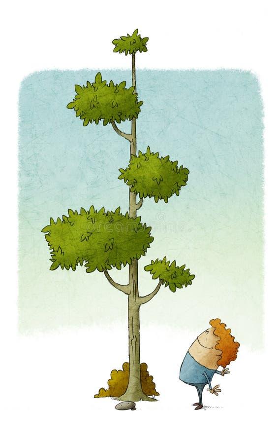 A criança olha como uma árvore cresce ilustração stock