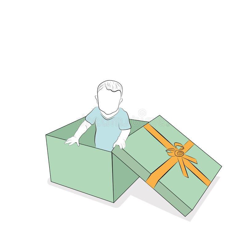 A criança olha fora da caixa de presente surpresa Ilustração do vetor ilustração royalty free