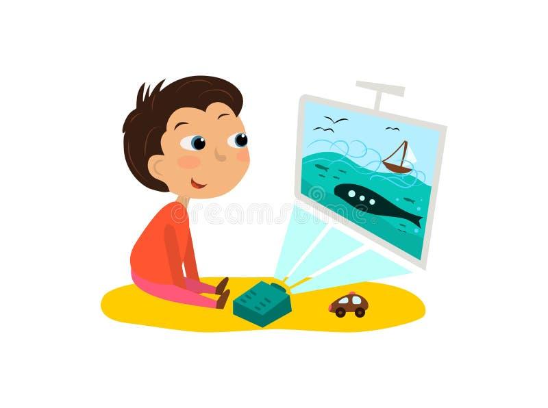 A criança olha os desenhos animados, tevê Vector a ilustração de um menino e de um projetor ilustração royalty free