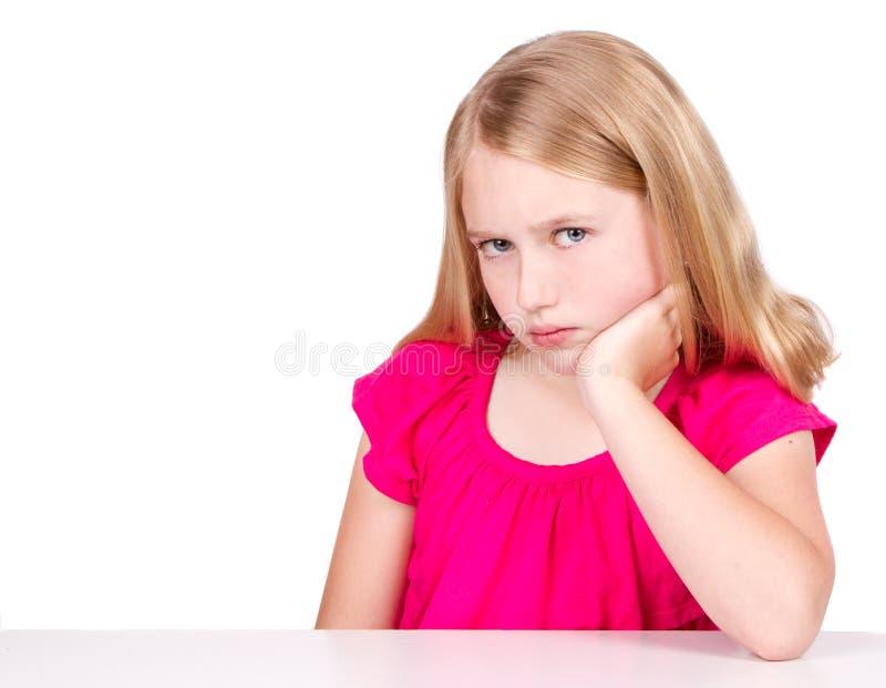 Criança ou pre-teen irritado ou virado imagem de stock