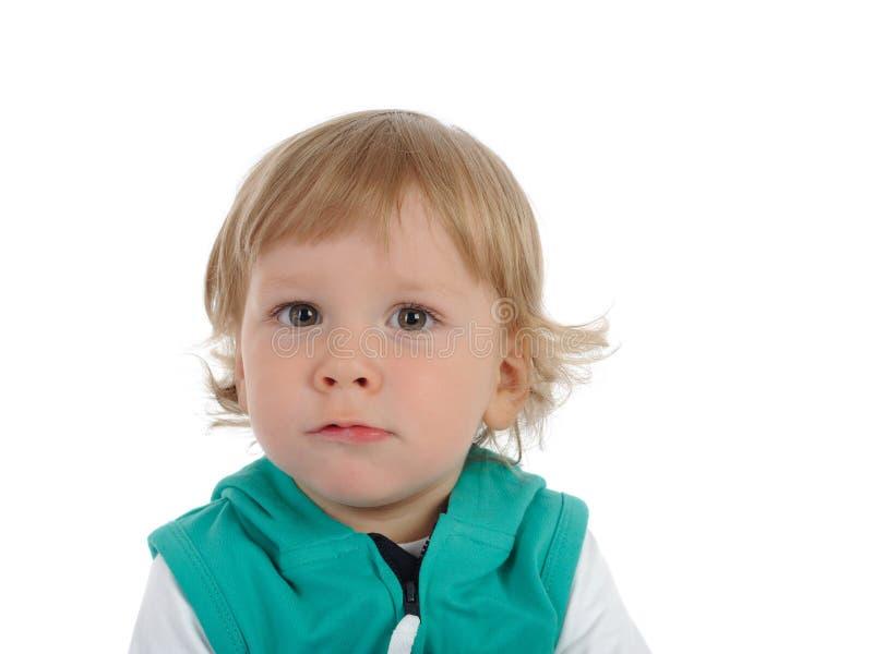 Criança pequena bonito 2 anos de sorriso velho. isolado fotografia de stock