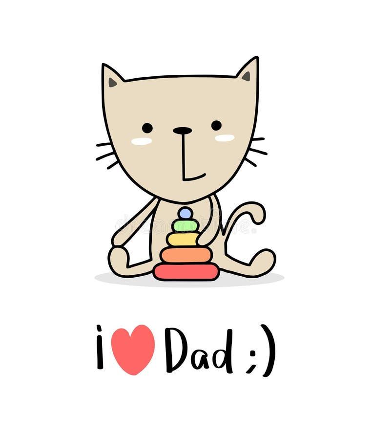 Criança pequena bonito feliz do gato com torre do brinquedo Eu amo dos desenhos animados lisos do vetor dos cumprimentos do paizi ilustração do vetor