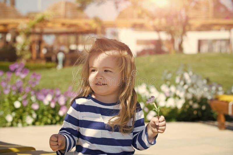 Criança pequena bonito que levanta no prado com grama verde Caçoe o menino com a cara de sorriso na camisa listrada azul e branca imagem de stock royalty free